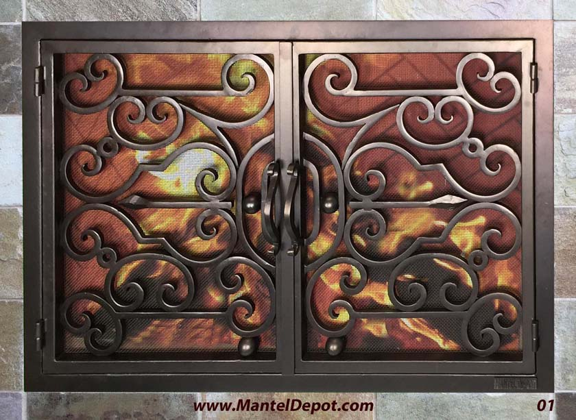 Hand forged wrought iron Fireplace Door FD001
