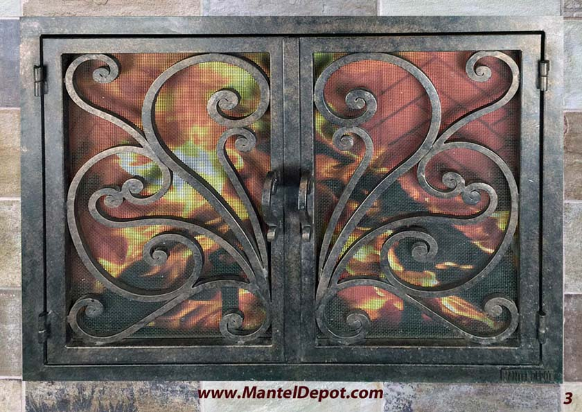Hand Forged Iron Fireplace Doors Fd003 From Mantel Depot