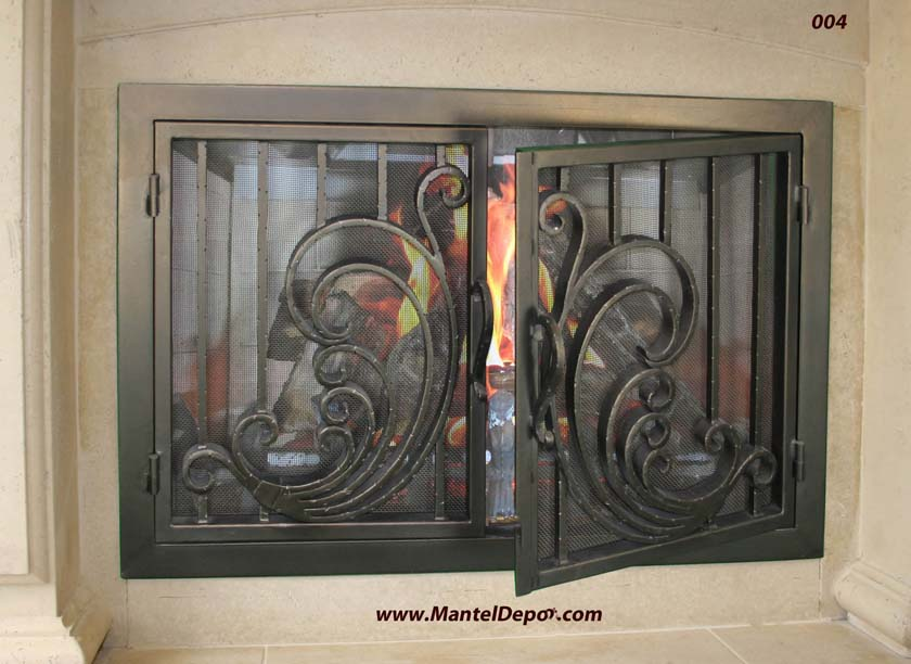 Hand forged wrought iron Fireplace Door 4