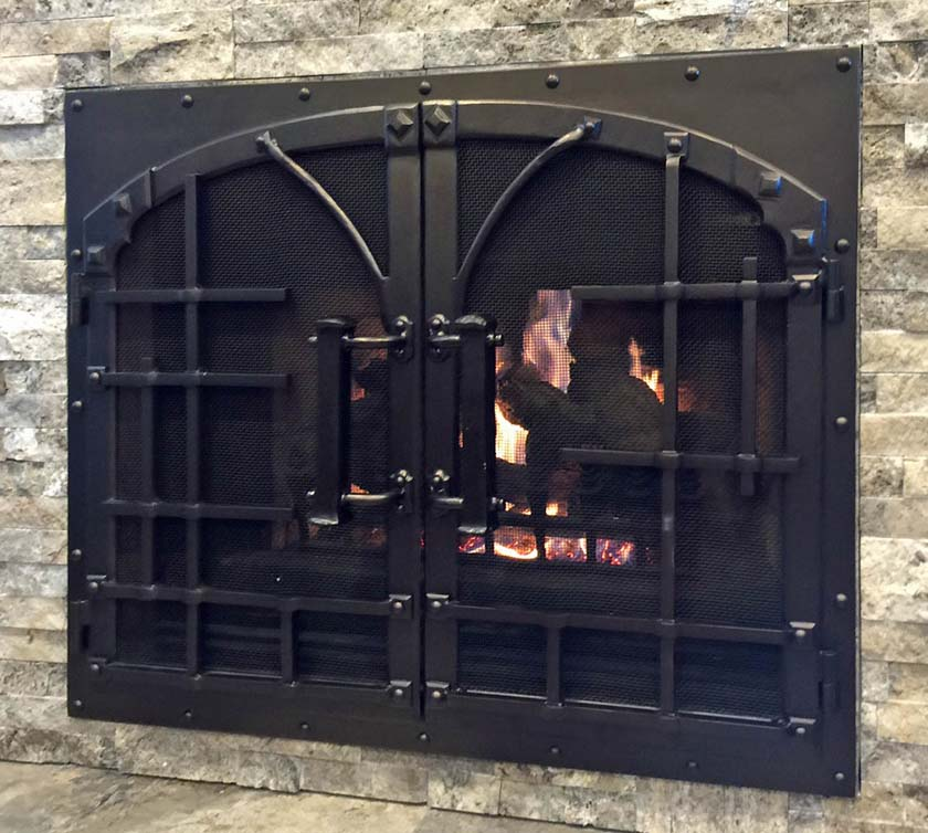 Hand Forged wrought iron Fireplace Door FD007