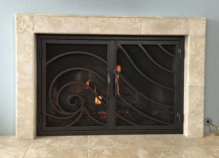 Hand Forged Iron Fireplace Doors Fd016 From Mantel Depot In San Diego
