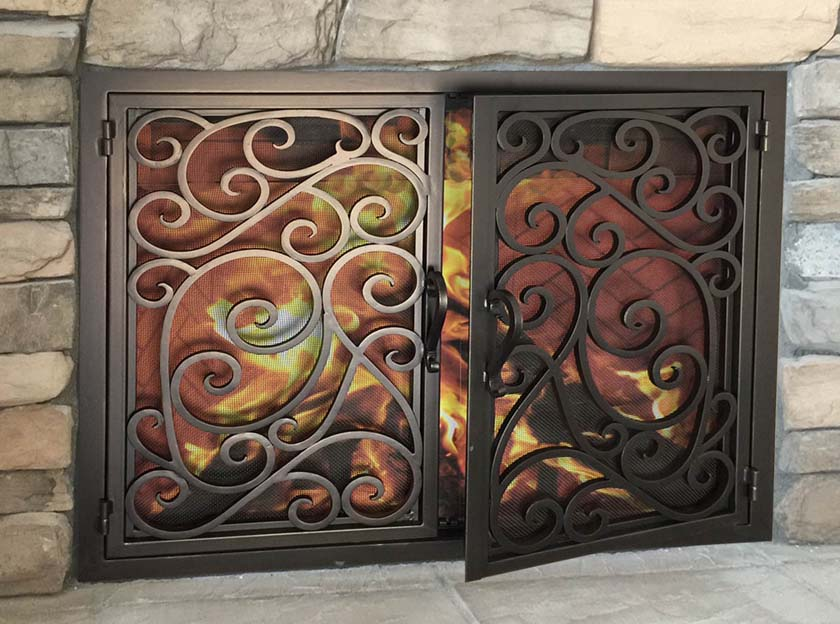 Hand Forged Iron Fireplace Doors Fd032 From Mantel Depot