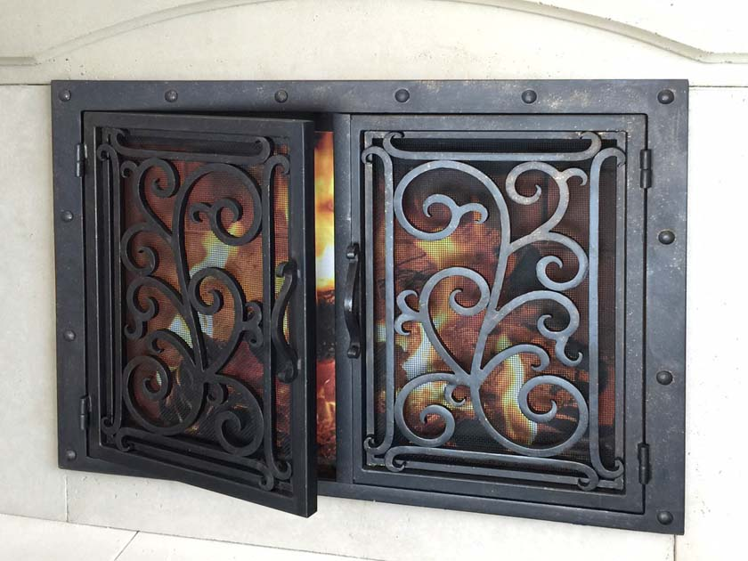 hand forged iron fireplace doors fd034 from mantel depot in san diego