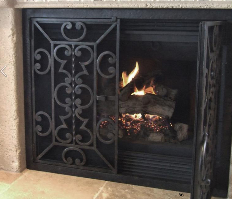 hand forged iron fireplace doors fd056 from mantel depot in san diego