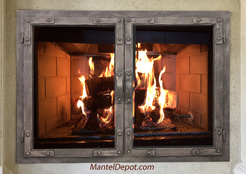 Hand Forged Iron Fireplace Doors Fd078 From Mantel Depot In San Diego